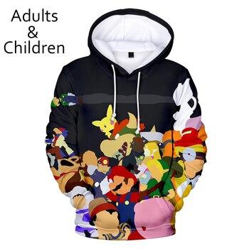Gran oferta, niños, niñas, negro, con capucha, 3D Super Smash Bros. Sudaderas con capucha Ultimate para hombre y mujer, jerséis para niños, sudadera 3D