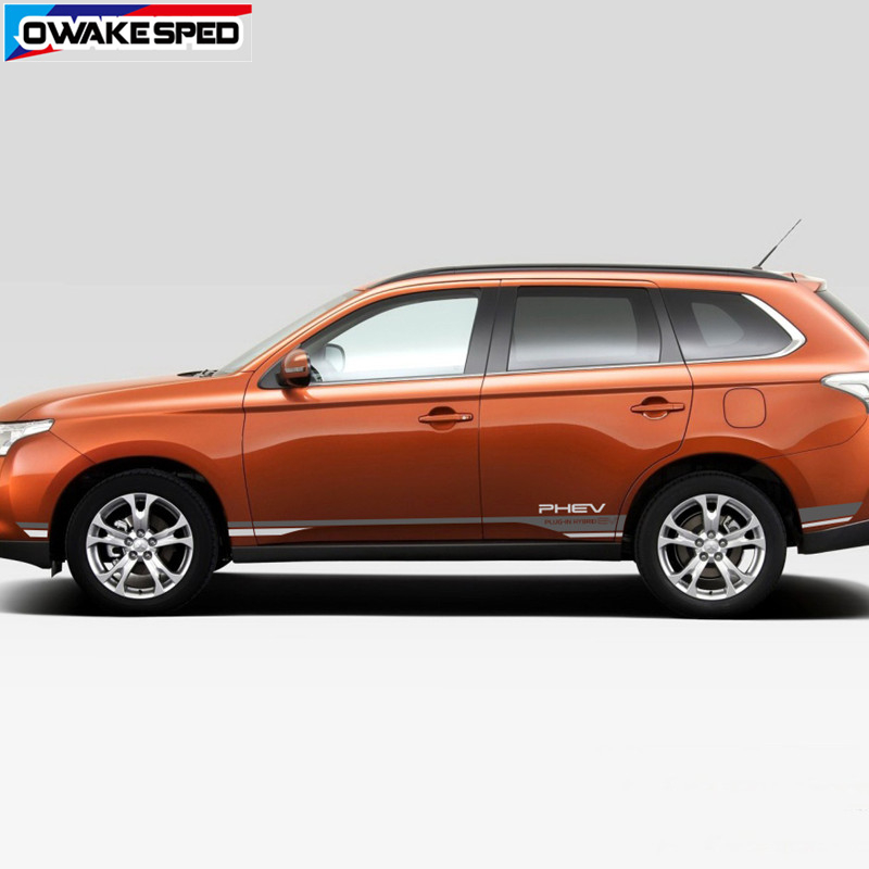 Sport Stripes Auto Door Side Skirt Stickers For Mitsubishi Outlander PHEV Car Styling Body Decor Vinyl Decals