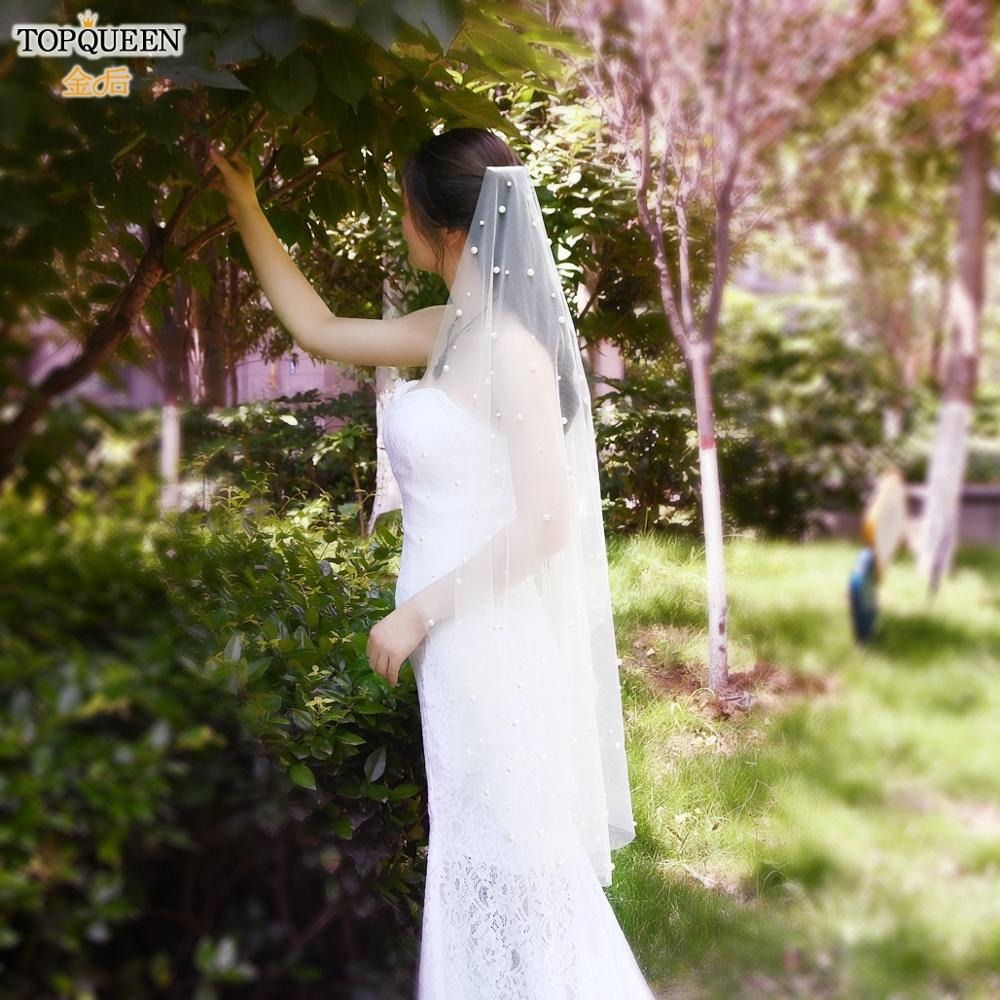 TOPQUEEN V01 Wedding Veils for Brides Pearl Veil Comb One Tier Ivory White Veil for Girls White Ivory short Veil Hair Decoration