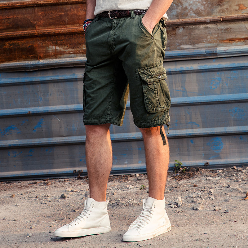 New Style Summer Pure Cotton Casual Pants Men's Short Bags Bib Overall Europe And America Outdoor Large Size Workwear Shorts