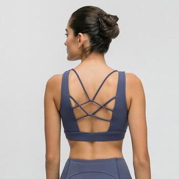 цена на Nepoagym LEMON Sports Bra High Impact Brushed Fabric Women Yoga Top Sports Shirt Medium Support Women Fitness Bra Soft Gym Bra