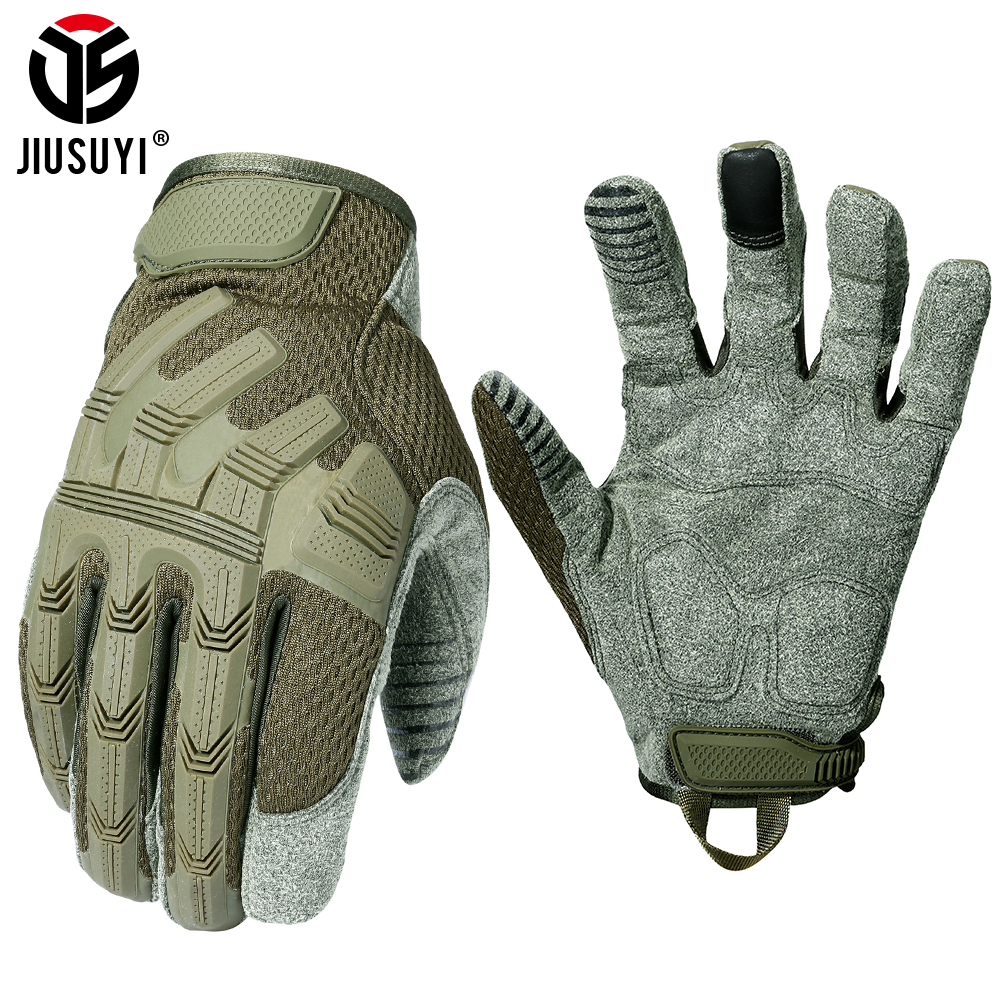 Tactical Glove Full Finger Gloves SWAT Long Mittens Army Military Rubber Anti-skip Touch Screen Leather Airsoft Bicycle Men 2020