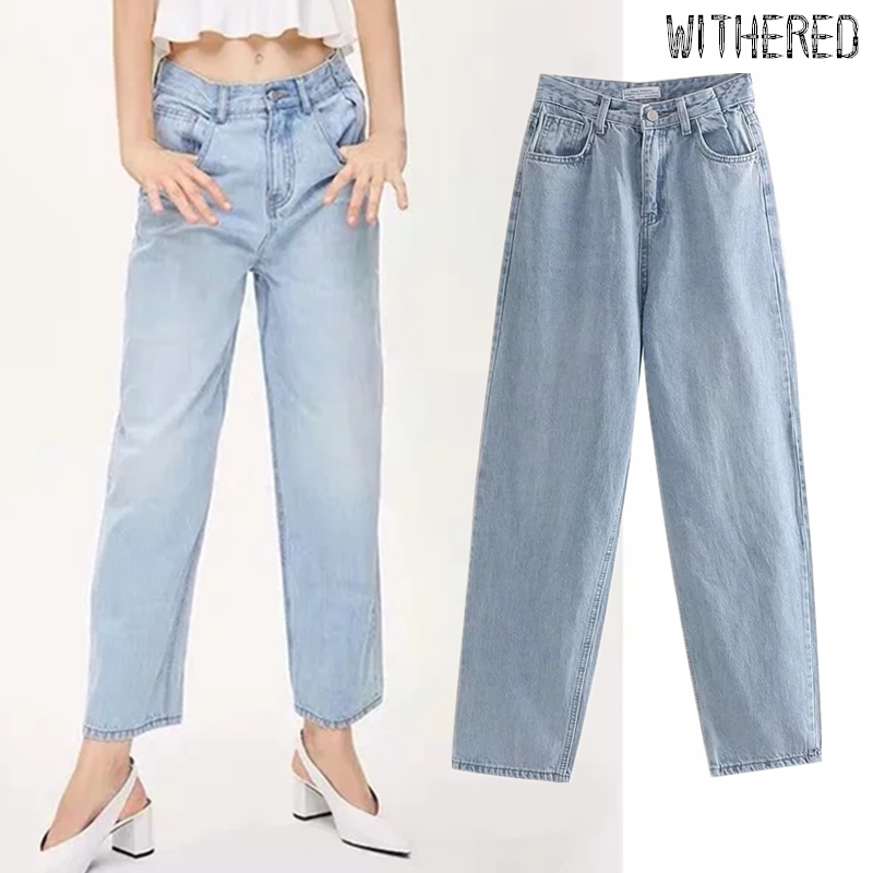 Withered England Vintage Wahed Mom Jeans Woman Straight High Waist Jeans Regular Jeans For Women Boyfriend Jeans For Women
