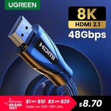 Ugreen Hdmi Kabel Hdmi 2.1 Kabel 8K @ 60Hz 4K @ 120Hz Ultra High Speed 48Gbps Voor Apple Tv PS4 8K Tv Digitale Kabels HDR10 + Hdmi 2.1