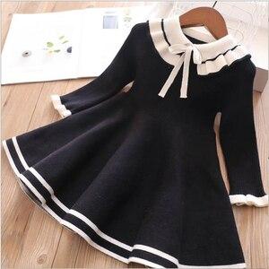 Детские свитера с платьем с бантами для девочек на осень 2020, новое вязаное платье для девочек зимние шерстяные свитера принцесс, платья милы...