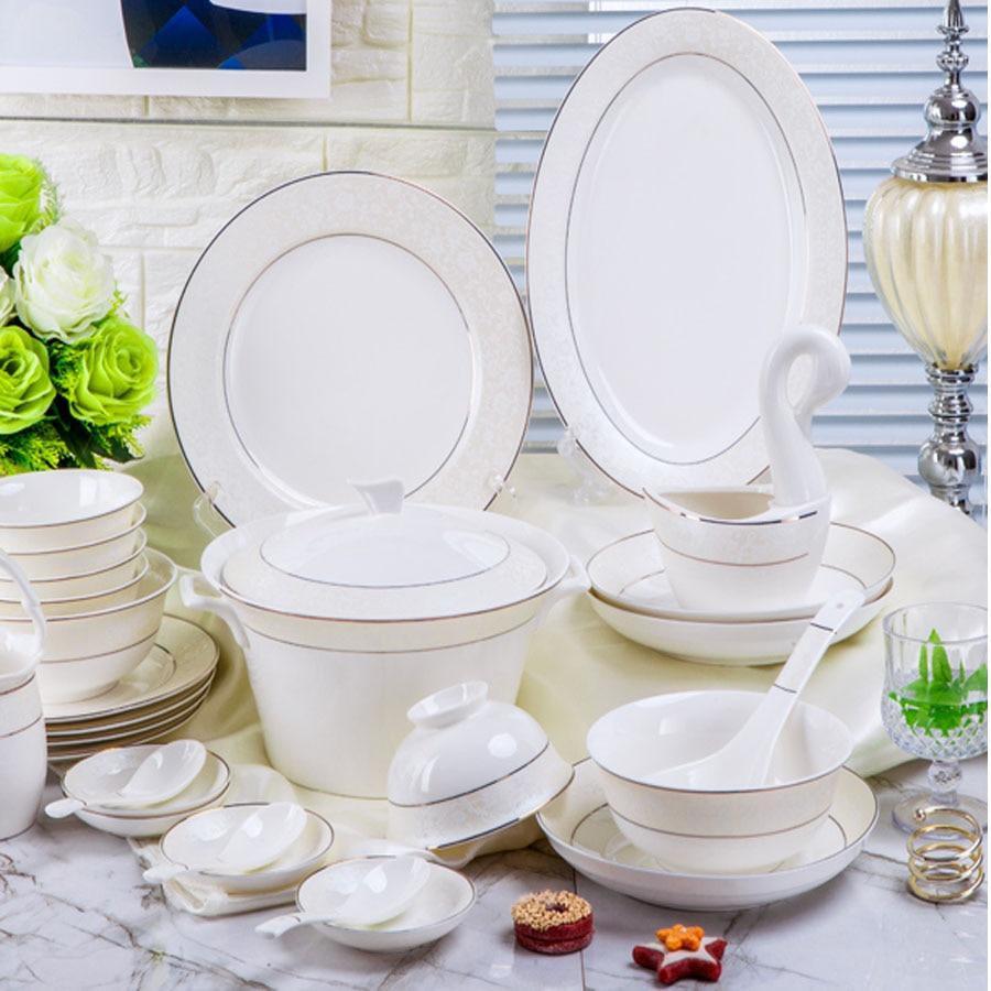 Ensembles de vaisselle 60 têtes Jingdezhen vaisselle chinoise en céramique vaisselle de table ensemble de plat bol de riz bol à soupe salade nouilles bol plat plat
