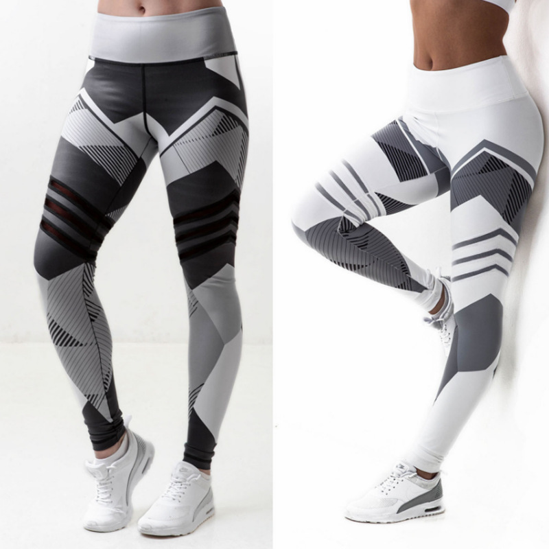 Europe And The United States Geometric Digital Printing Lady Fitness Hip High Waist Exercise Leggings