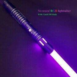 LGTOY Mute Lightsaber 1 inch Dueling Balde Stunt Metal Handle Sword Cosplay Flashing Light Kids Gift -No Sound RGB Lightsaber