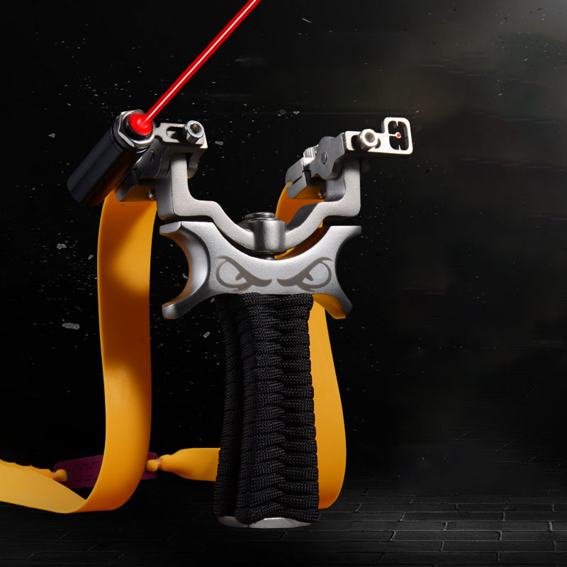 360 Degree Rotating Slingshot Stainless Steel Laser Fast Pressing Flat Leather Slingshot Outdoor Hunting Shooting Athletic