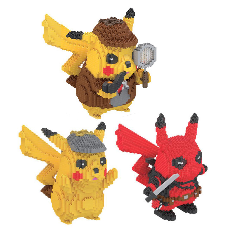 Anime movie figures building bricks image marvel Deadpool poke Detective Pikachu micro diamond block nanobricks toys collection image