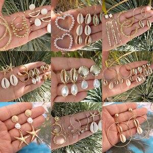 Tocona Elegant Gold Beach Shell Starfish Love Heart Pearl Dangle Earrings for Women Ethnic Jewelry Boho Drop Earring Set(China)