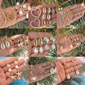 Tocona Elegant Gold Beach Shell Starfish Love Heart Pearl Dangle Earrings for Women Ethnic Jewelry Boho Drop Earring Set Fashion & Designs Fine Jewellery Jewellery & Watches Women's Fashion