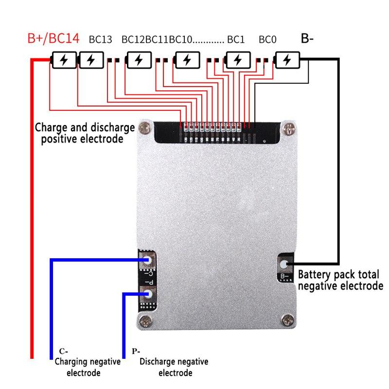 Bms 10S 12S 13S 14S 16S 30A 40A 50A 60A 100A 48V 60V 18650 Li-Ion Lithium Batterij Bescherming Boord Bms Circuit Balans Module
