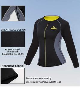 Image 5 - NINGMI Neoprene Sauna Suit Long Sleeve Shirt + Legging Body Shaper Sports Set Women Control Panties Pant Waist Trainer Shapewear