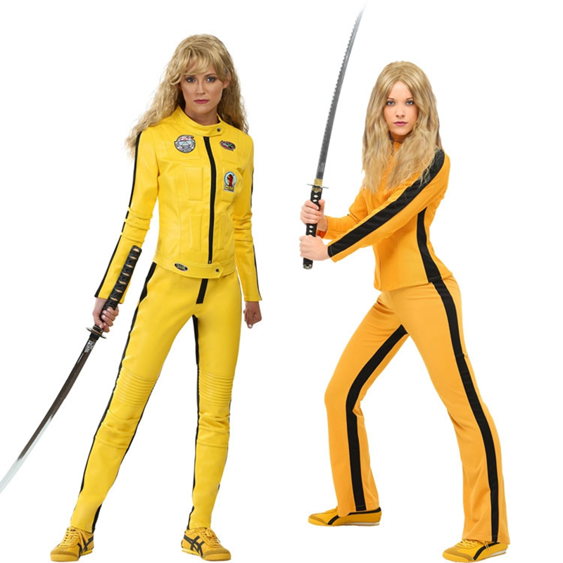 Movie Kill Bill The Bride Beatrix Kiddo Cosplay Costume Kung Fu Jumpsuit for Women Halloween Carnival Mardi Gras Costumes
