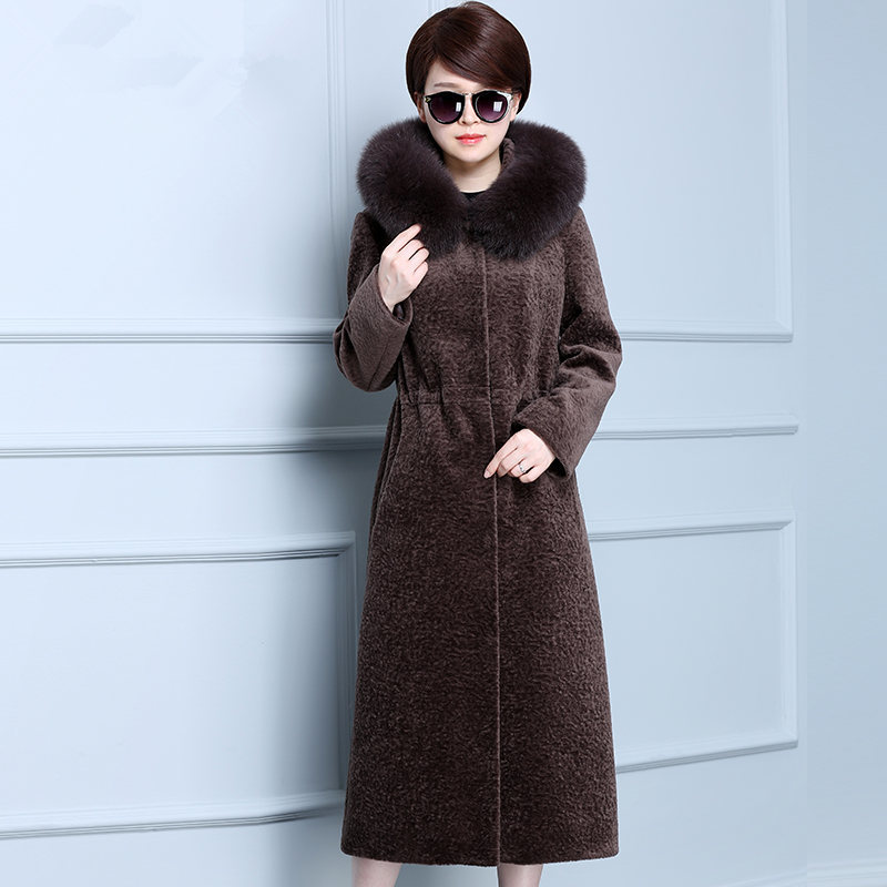 Genuine Fur Coat Women Autumn Winter Warm Thick Sheep Shearing Jackets Fox Fur Collar Hooded Plus Size 4XL ParkaMF585