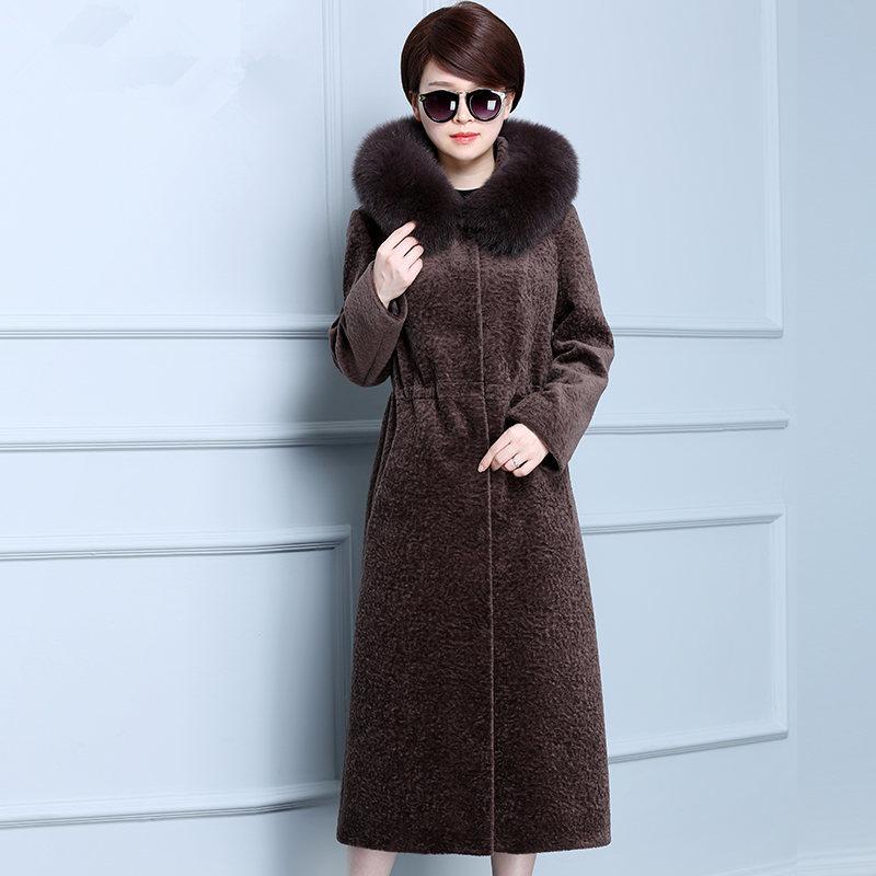 Genuine Fur Coat Women Autumn Winter Warm Thick Sheep Shearing Jackets Fox Fur Collar Hooded Plus Size 4XL ParkaMF585