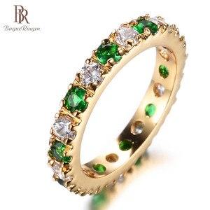 Image 3 - Bague Ringen כסף 925 טבעת עם 3MM זירקון אמרלד חן מקפץ רטרו מדהים קלאסי טבעת אישה Jewerly מתנה size5 9