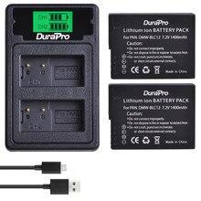 2 batteries de remplacement BLC12E 1400mAh avec chargeur USB LCD, pour appareil photo Panasonic FZ1000 FZ200 FZ300 G5 G6 G7 GH2 BLC12