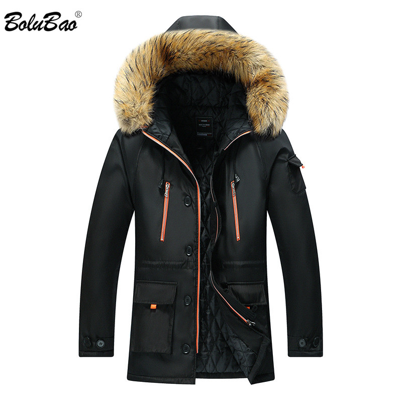 BILUBAO Fashion Men's Hooded Parkas Winter Brand Male Solid Warm Thick Overcoat High Quality Fur Collar Parka Coats Male