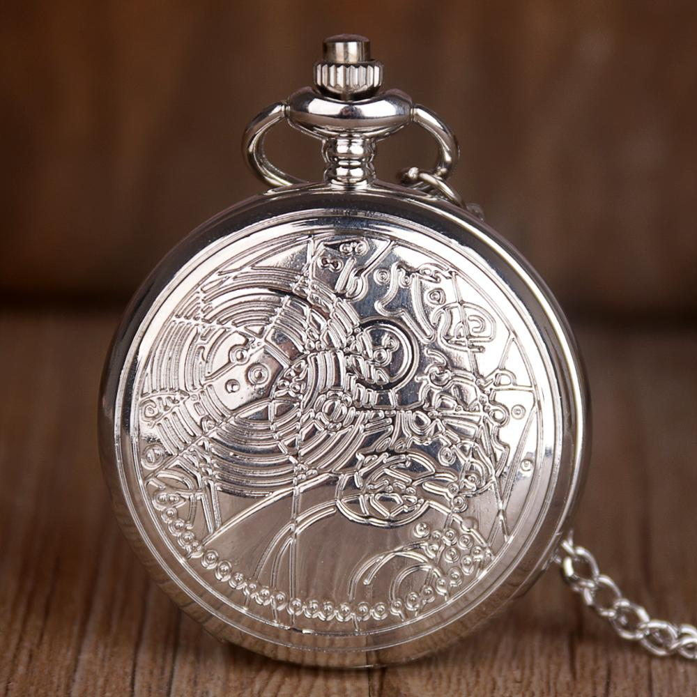 2019 New Hollow Silver Flowers Pocket Watches Arabic Numerals Quartz Pocket Watch Necklace Chain Pendant Men Women Fob Clock