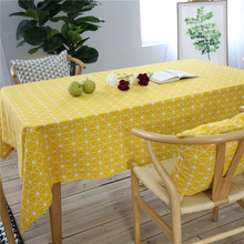 Yellow Geometric Tablecloth Cotton Linen Wedding Party Decor Table Cover Home Decorative Rectangular Table Cloth winsome home decor traditional xola console table cappuccino finish