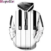 2019 Sweatshirt 3D Printing Lovers Hooded Street Piano Key Influx People Loose Sports Prismatic Uniform Warm Visual Size XXL Big