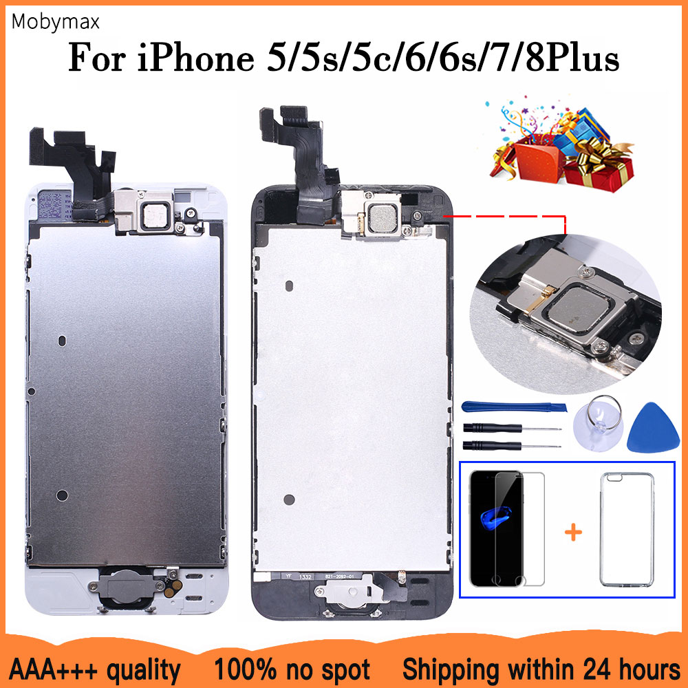 AAA+++ LCD Full Assembly For iPhone 5 5C 5S SE 6 7 8 Plus Touch Glass Display LCD Digitizer Replacement+Front Camera+Ear Speaker(China)