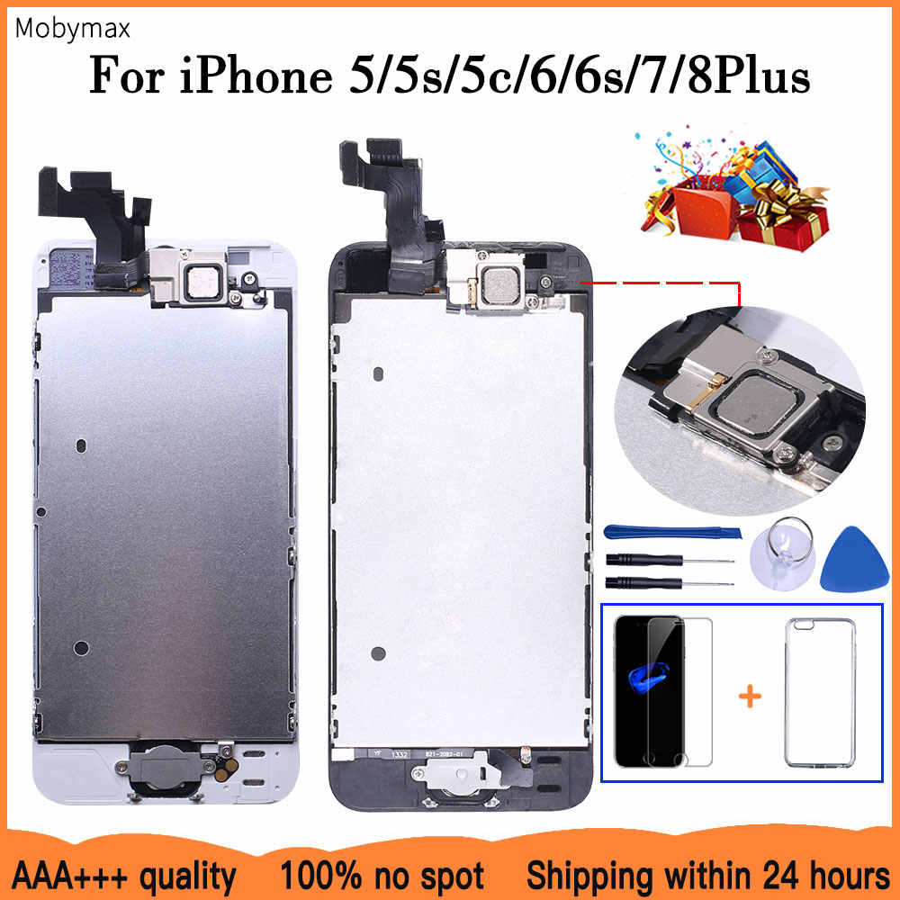 AAA + + + LCD הרכבה מלאה עבור iPhone 5 5C 5S SE 6 7 8 בתוספת מגע זכוכית תצוגת LCD Digitizer החלפת + מצלמה קדמית + אוזן רמקול