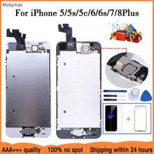 AAA + + + LCD tam montaj iPhone 5 5C 5S SE 6 7 8 artı dokunmatik cam ekran LCD sayısallaştırıcı değiştirme + ön kamera + kulak hoparlör