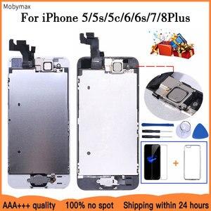 Image 1 - Aaa + + + 液晶iphone 5 5C 5s、se 6 7 8プラスタッチスクリーンガラスディスプレイlcdデジタイザ交換 + フロントカメラ + 耳スピーカー