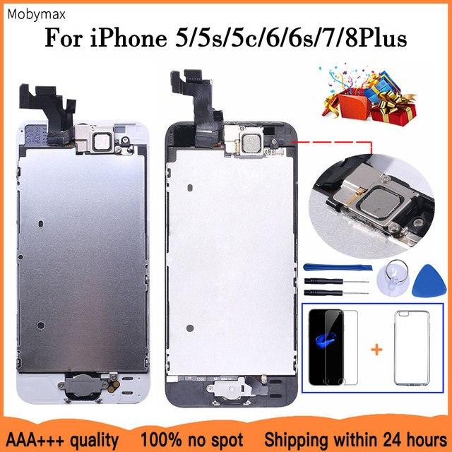 Aaa + + + 液晶iphone 5 5C 5s、se 6 7 8プラスタッチスクリーンガラスディスプレイlcdデジタイザ交換 + フロントカメラ + 耳スピーカー