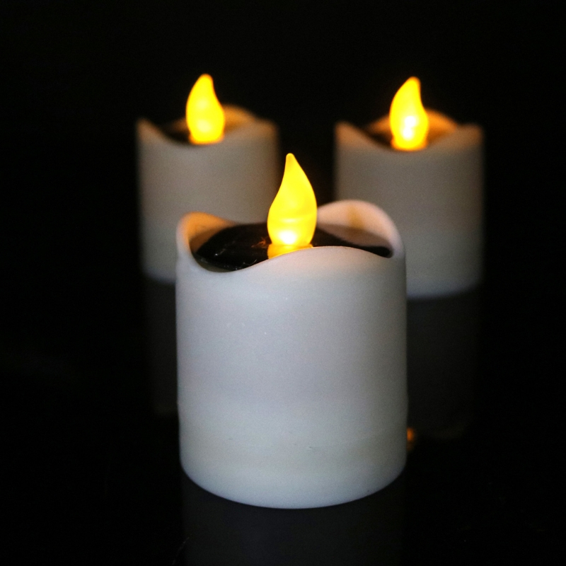1pc Solar Powered LED Candle Light Yellow Flicker Tea Lamp For Festival Wedding Party Home Decor
