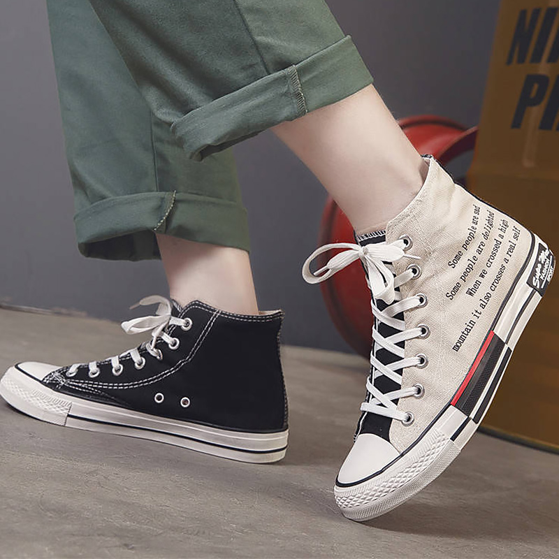 Canvas Sneakers Shoes Vulcan High-Top Flat Designer Casual Fashion Man Boys Men title=