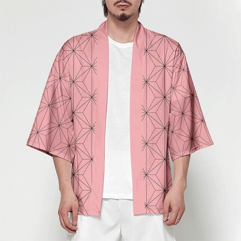 Wamni Kimono Cardigan Pria Musim Panas Streetwear Samurai Kostum Kimono Lengan Batwing Kemeja Kimono Pria Lucu 3D Cetak Dropshipping