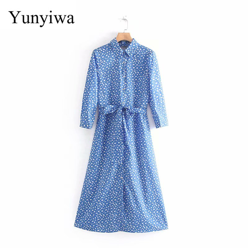 2020 New Women Elegant Print Bow Sashes Long Dress Ladies Buttons Chic Kimono Vestidos Casual Slim Business Dresses