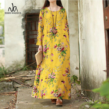 2019 New Vintage Women Maxi Floral Dress Plus Size Long Sleeves Pockets O Neck Cotton Linen Loose Robe Dresses vestidos цена