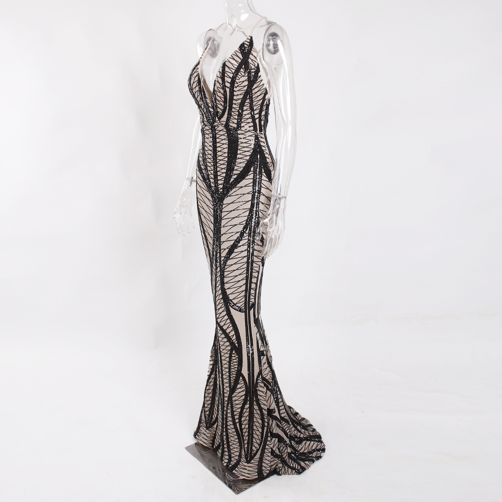 Sleeveless Deep V Neck Black Sequined Dress Backless Stretchy Long Mermaid Dress 10