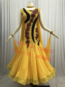 New Ballroom Competition Dance Dress Women High Quality Yellow Waltz Skirt Long Sleeve Standard Dresses