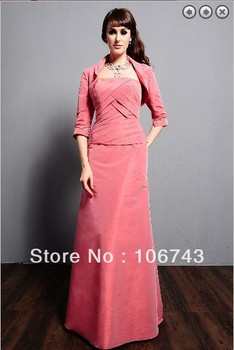 free shipping 2016 maxi dresses plus size vestidos formales weddings long sleeve mother of the bride gown dresses with jacket 2