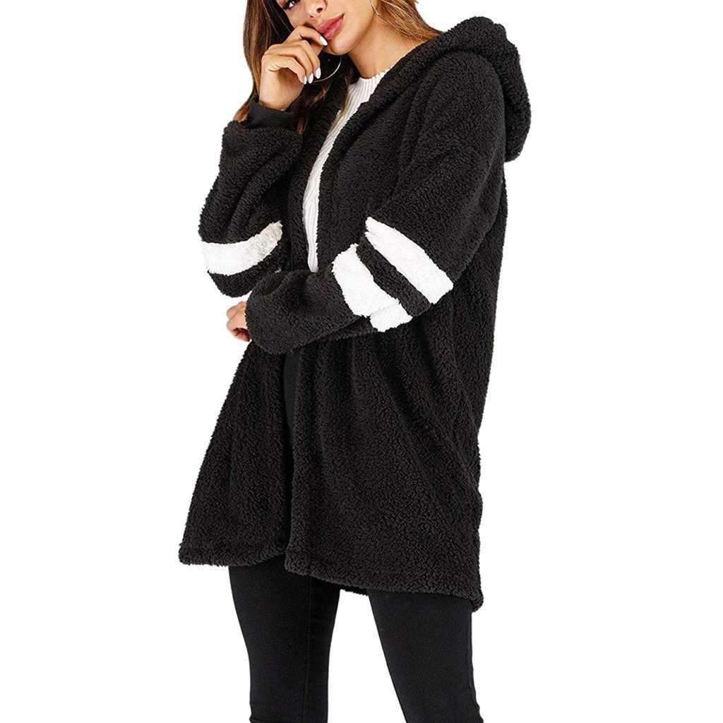 Çizgili kış peluş ceket kadın sonbahar kalın artı boyutu kabarık uzun trençkot Casual kadın cepler peluş palto giyim