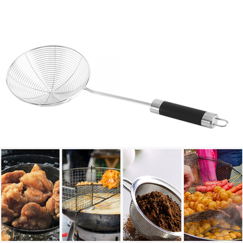 Colador de cocina portátil utensilio patatas fritas acero inoxidable con gancho restaurante cocina araña herramienta aceite Filtro de alambre sólido