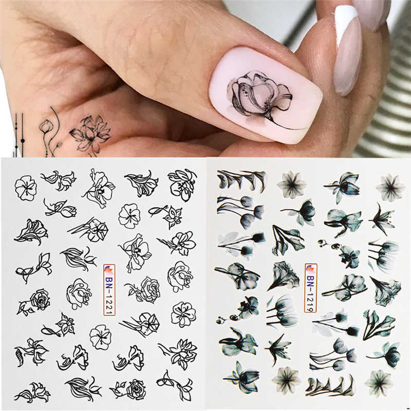 1Pcs Hitam Putih Bunga Daun Stiker 3D Kuku Seni Air Transfer Stiker Slider Geometri Seni Kuku Wraps Manikur Dekorasi tato