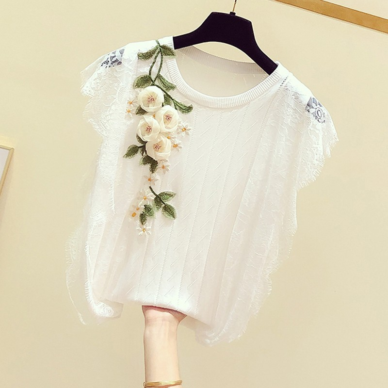 Knitted Shirt Woman 2020 Spring Summer New Korean-Style Embroidered Flower Lace Sleeve Knit Camisole Tanks Women's Casual Tank T