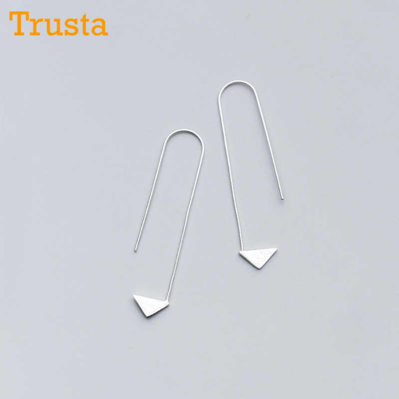 Trusta New Women Fashion 100% 925 Sterling Silver Arrow 5.0cmX1.6cm Dangle Earring For Girl Lady Madam Jewelry DS1105