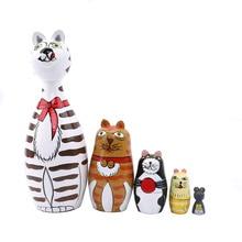 5 teile/satz Katze Haus Russische Matryoshka Puppen Hand Bemalt Wohnkultur Geburtstag Geschenke Baby Spielzeug Nesting Dolls Holz Matryoshka
