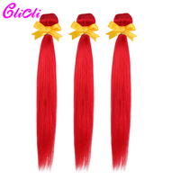 Red human hair bundles pre colored 3 hair bundles Malaysian straight hair weave bundle extensions Nonremy Clicli