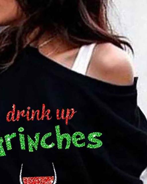 Women Fashion Casual Long Sleeve Tops Blouse Feamle  Christmas Grinches Glass Wine Print Design 2XL Plus size Sweatshirt Tops 2