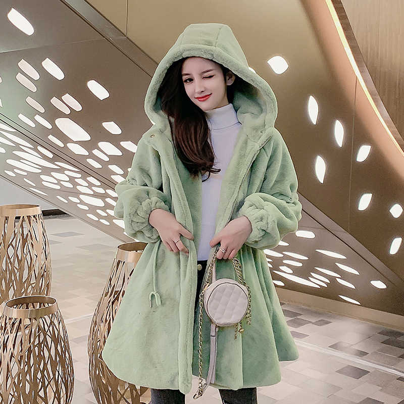 Faux Fur Coat Winter Women Jacket fluffy Pink Long Furry And Blouses Vintage Luxury Clothes 2019 Cardigan Fashion With Hood Warm