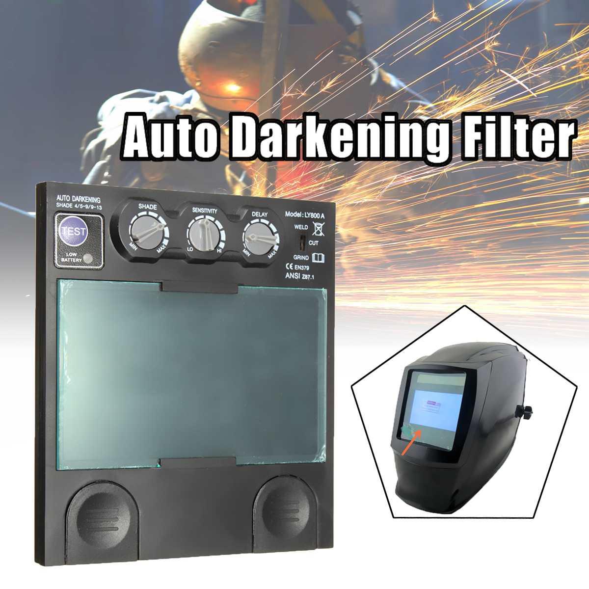 1pcs Solar Auto Darkening Big View Area 4 Arc Sensor Helmet Lens TIG MIG Filter Mask Welding Helmet Repair Replace Shield Lens